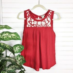 Lucky Brand Embroidered Swing Boho Tank Boho Red S